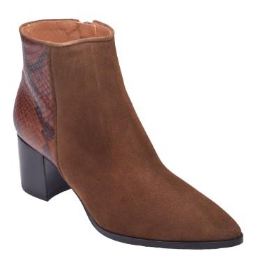 Chaussure, bottines, femme petite pointure, marron, vue diagonale