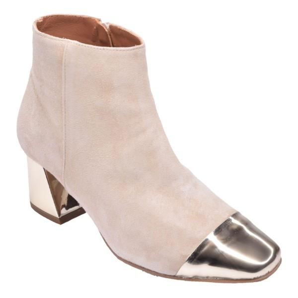 Chaussure, bottines, femme petite pointure, beige, vue diagonale