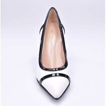 Escarpins bouts pointus, cuir imprimé fantaisie, Brenda Zaro, argent, 6.5 cm, LS1406