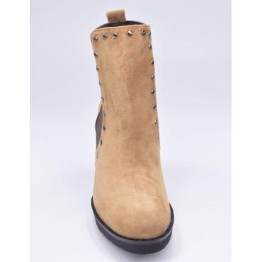 Bottines cuir écaille, Style santiag, python kaki, T3461A, Brenda Zao