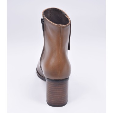 Low boots, plateforme, cuir lisse marron clair, F97509, Brenda Zao