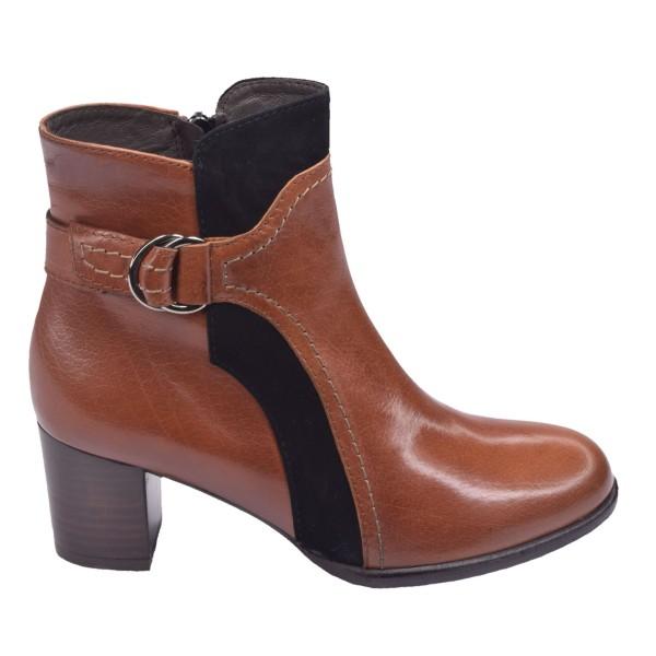 Chaussure, bottines, 5174, Plumers, femme petite pointure, cognac, vue profil