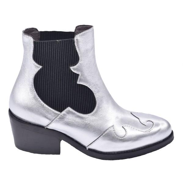 Chaussure, boots, 5153, Plumers, femme petite pointure, argent, vue profil