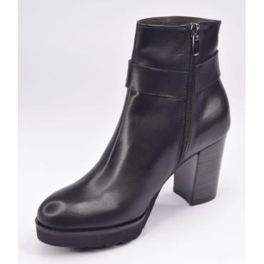 Low boots, plateforme, cuir lisse, noir, F1770, Brenda Zaro