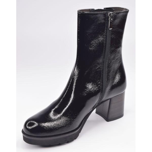 Low boots, bimatière, cuir lisse noir et vipérine noir, F1764, Brenda Zaro