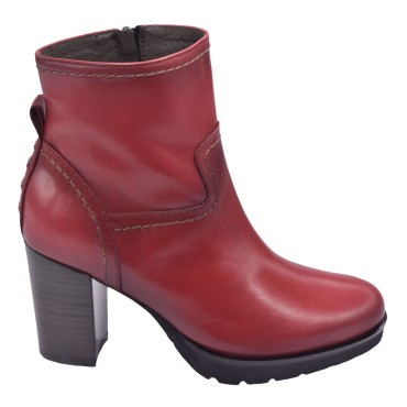 Chaussure, bottines, femme petite pointure, 5151, Plumers, rouge, vue profil
