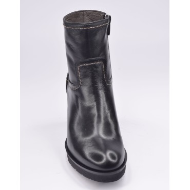 Bottines plateforme, cuir daim noir, F97510, Brenda Zaro