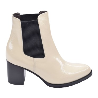 Chaussures, bottines, cuir, beige, 5184, Plumers, vue profil