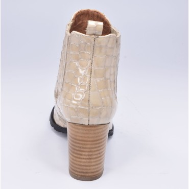 Bottines brides cuir lisse rouge, bouts pointus, F3492, Brenda Zaro