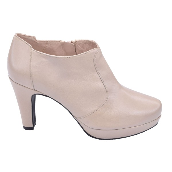 Low Boots Cuir Lisse Nude Clair, F97509, Brenda Zaro