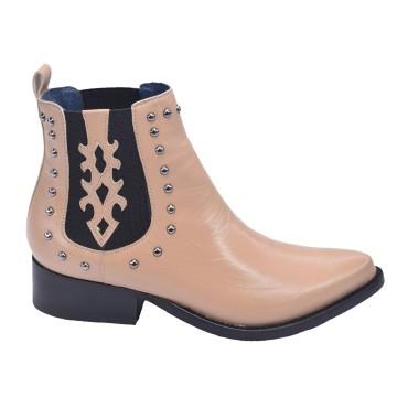 Boots Cuir Lisse Nude, Hyppas, Pierre Cardin