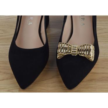 Bottines, talons épais style santiag, cuir lisse noir, 5944, Plumers Menorca