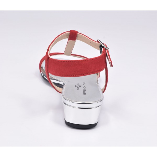 Bottines style country, cuir daim rouge et vipérine rouge, 5686, Plumers