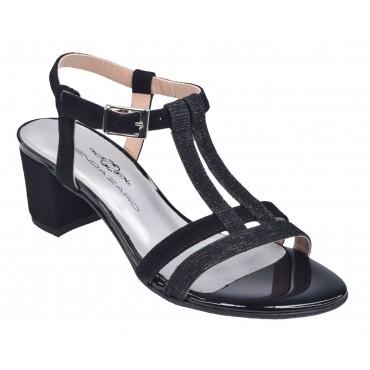 Boots cuir vipérine verni noir et python noir, 5856, Plumers Menorca