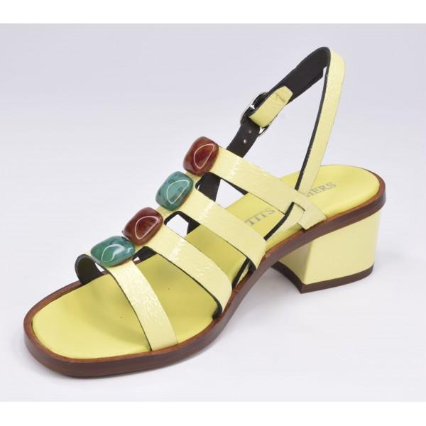 Basket compensées femme, cuir pailleté rouge et daim rouge 10627, Maria jamy
