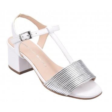 Sandales talons carrés, daim cognac, F1962W, Brenda Zaro