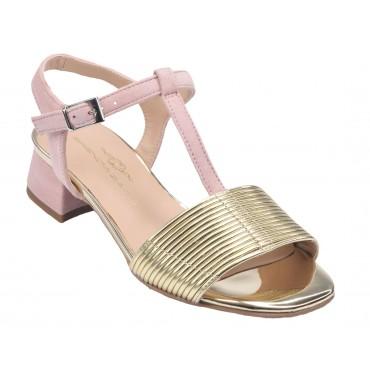 Sandales classiques, petits talons carré, cuir lisse noir, F3347W, Brenda Zaro