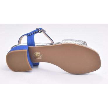 Sandales, petit talon carré, cuir jaune moutarde, Amex, Pierre Cardin
