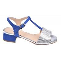 Sandales, petit talon carré, daim bleu turquoise, Amato, Pierre Cardin