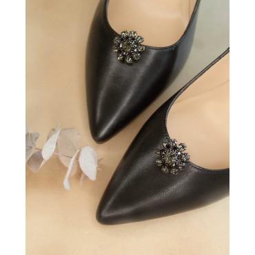 Sandales talons épais, cuir tressé, noir, 3204, Plumers