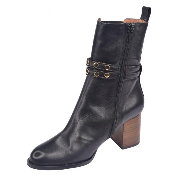 Sandales plateforme, cuir lisse marron, 3116, Plumers