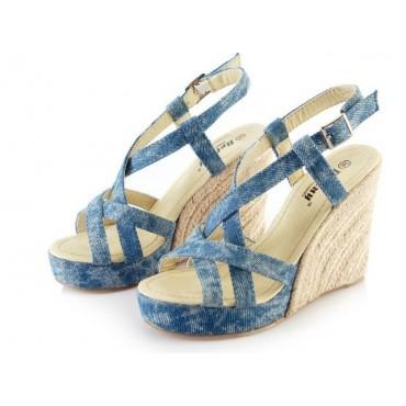 Sandales compensées bleues Sofiane