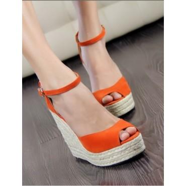 Sandales compensées orange Delphina