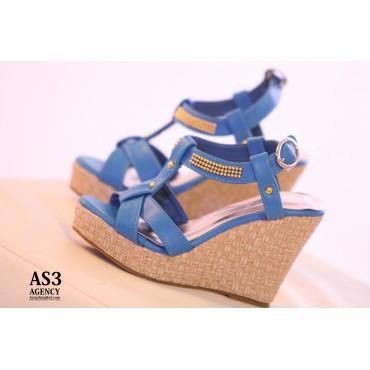 Sandales compensées bleues Kelly