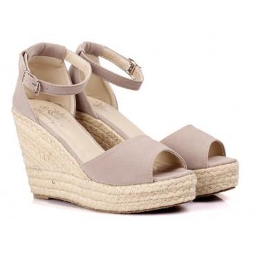Sandales compensées grises Delphina