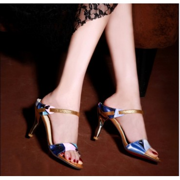 Sandales mules bleues Soria