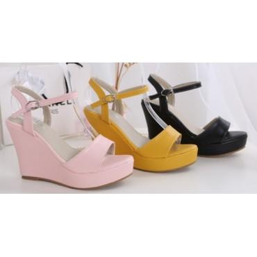 Sandales compensées Noires Gwenaelle