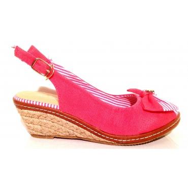 Sandales petits talons compensés roses Marina