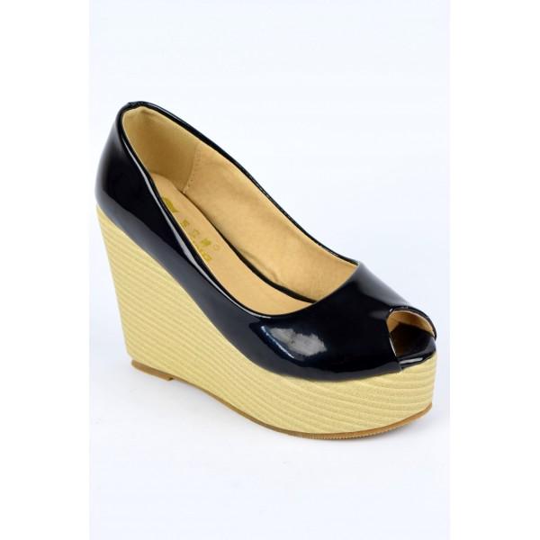 chaussures femmes petites pointures compens es noires vernies bouts ouverts nilene petits souliers. Black Bedroom Furniture Sets. Home Design Ideas
